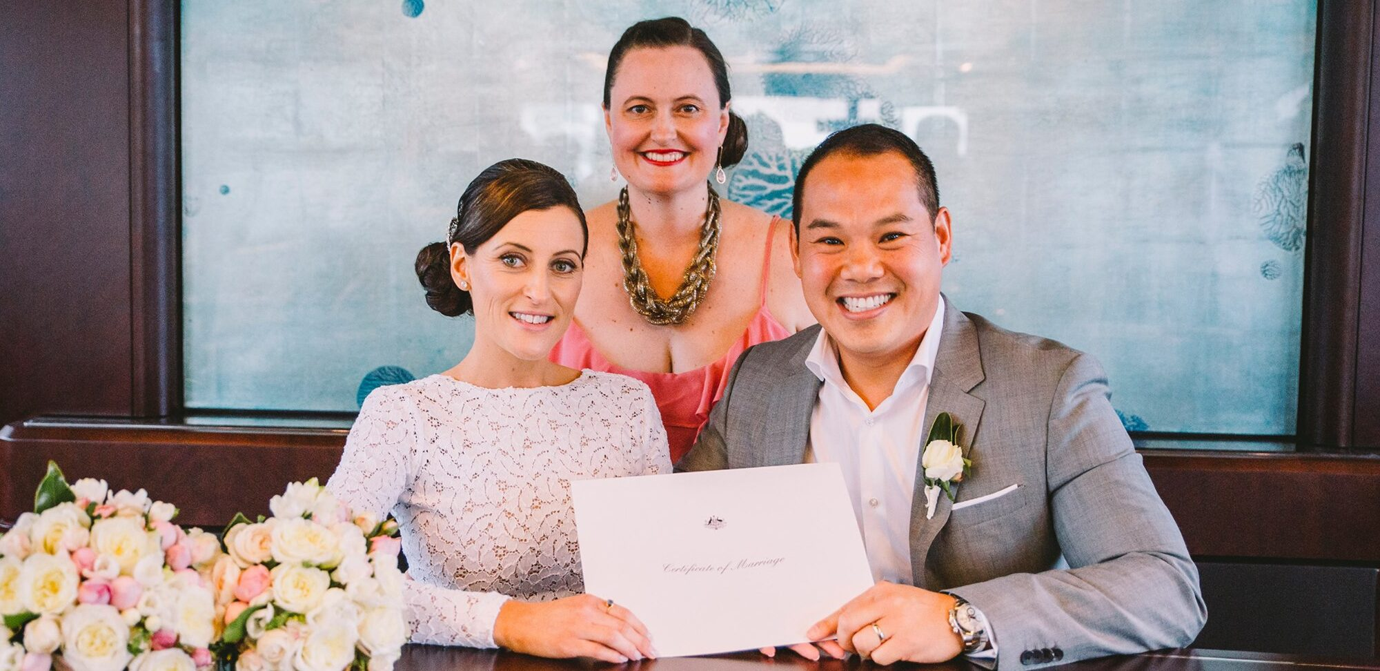 Kate Mackie celebrant with a couple on their wedding day